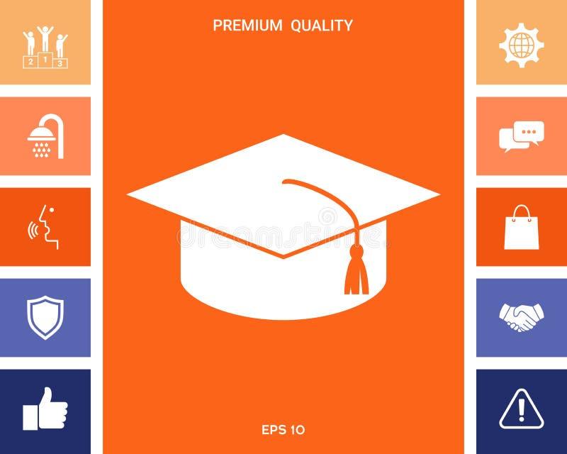 Chapeau principal pour des diplômés, chapeau scolaire carré, icône de chapeau d'obtention du diplôme illustration stock