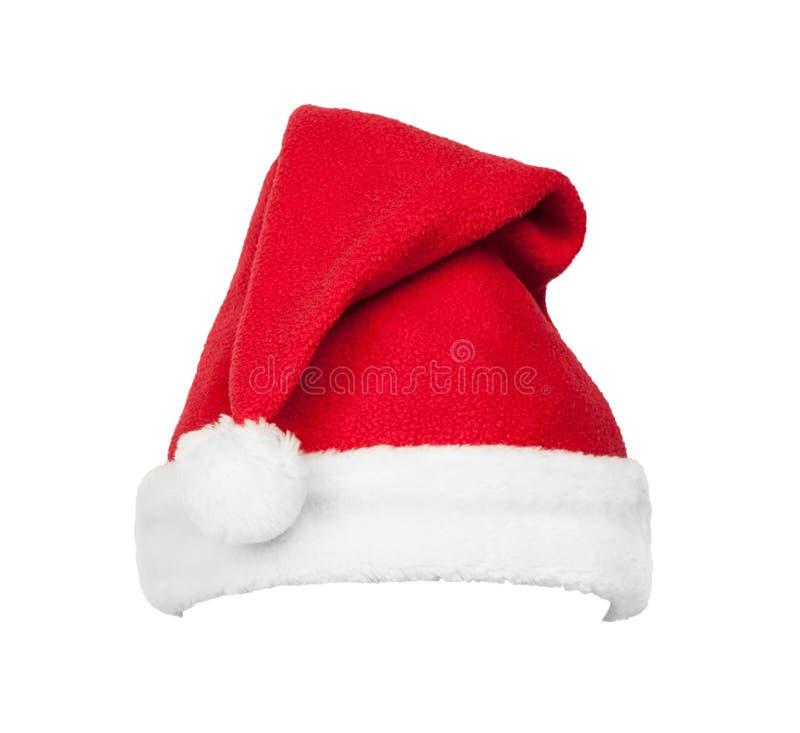 Chapeau rouge de Santa de Noël d'isolement sur le blanc image libre de droits