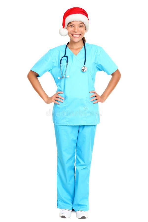 Chapeau s'usant de Santa de Noël d'infirmière images libres de droits