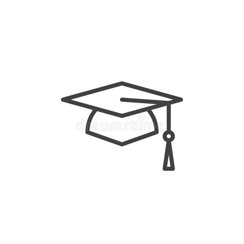Chapeau scolaire carré, ligne icône, signe de vecteur d'ensemble, pictogramme linéaire de chapeau d'obtention du diplôme de style illustration de vecteur
