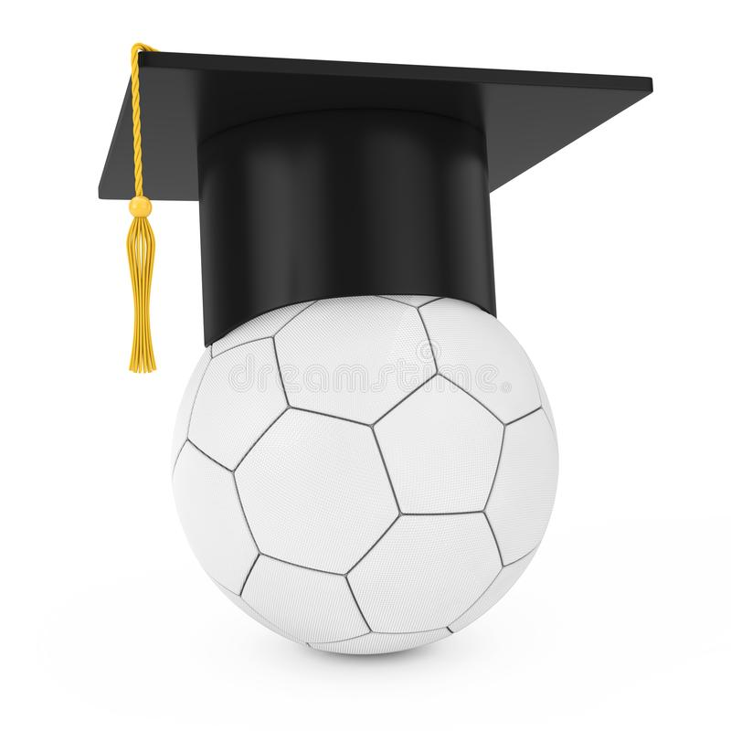 Chapeau scolaire d'obtention du diplôme au-dessus du ballon de football en cuir blanc du football rendu 3d illustration de vecteur