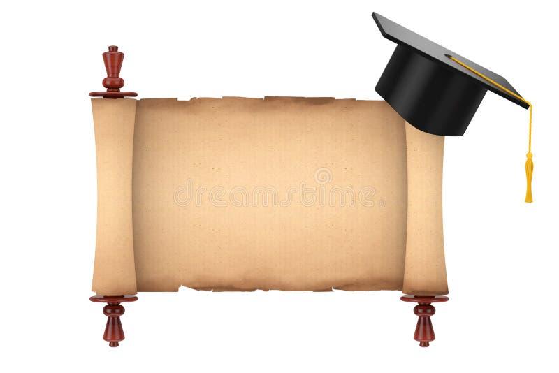 Chapeau scolaire d'obtention du diplôme au-dessus du vieux parchemin de papier vide MOIS de rouleau illustration stock