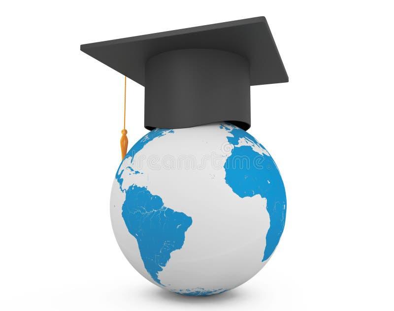 Chapeau scolaire d'obtention du diplôme avec le globe de la terre illustration libre de droits