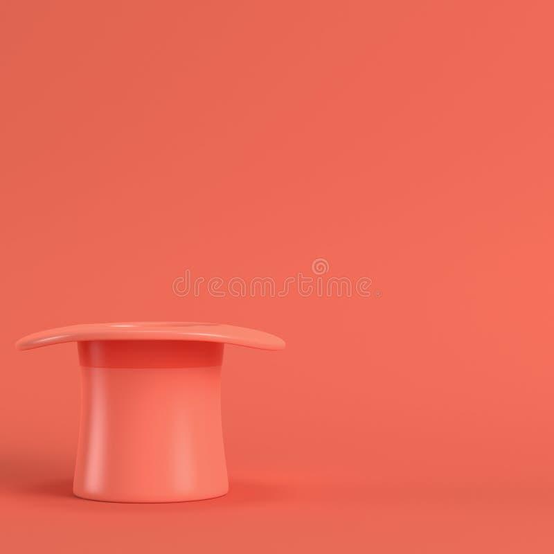 Chapeau supérieur dans la couleur de corail vivante Concept de minimalisme photo libre de droits