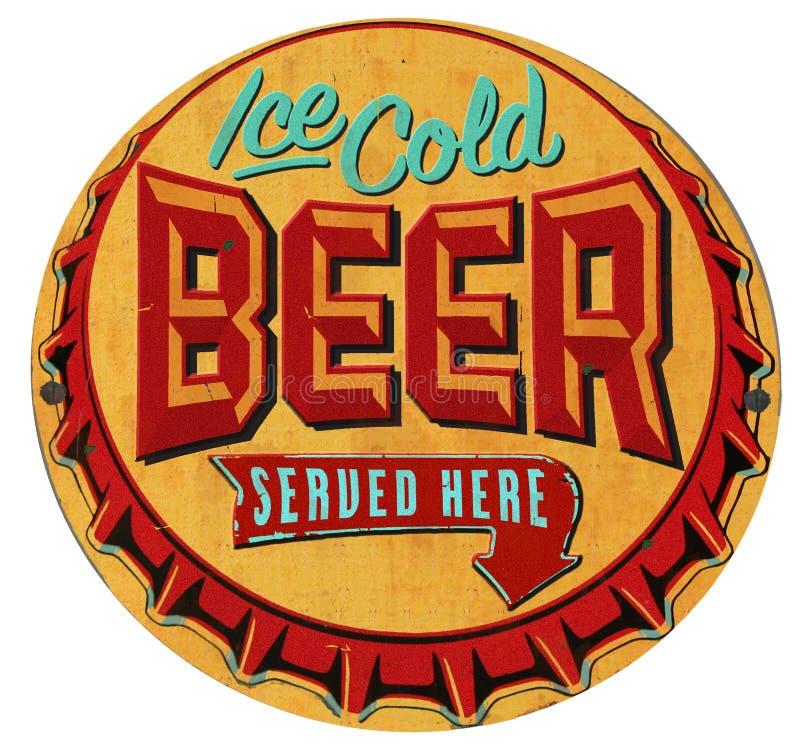 Chapeau Tin Sign Iced Cold de bouteille à bière illustration de vecteur