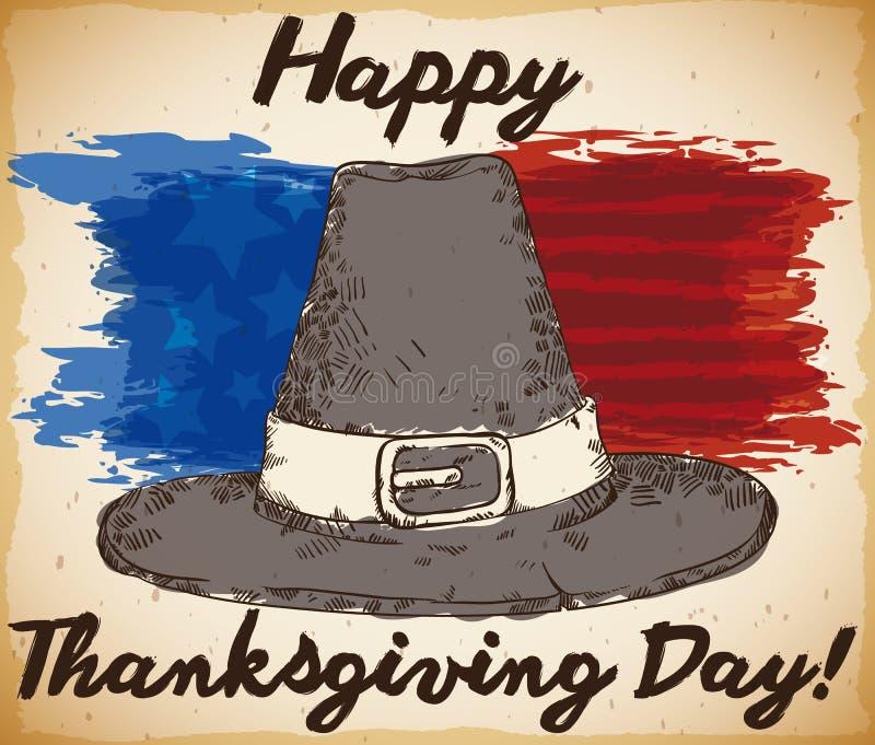 Chapeau tiré par la main de pèlerin avec des traçages de drapeau américain pour le thanksgiving, illustration de vecteur illustration de vecteur