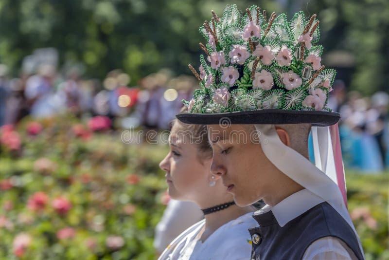 Chapeau traditionnel allemand de r?gion de Banat, Roumanie images libres de droits