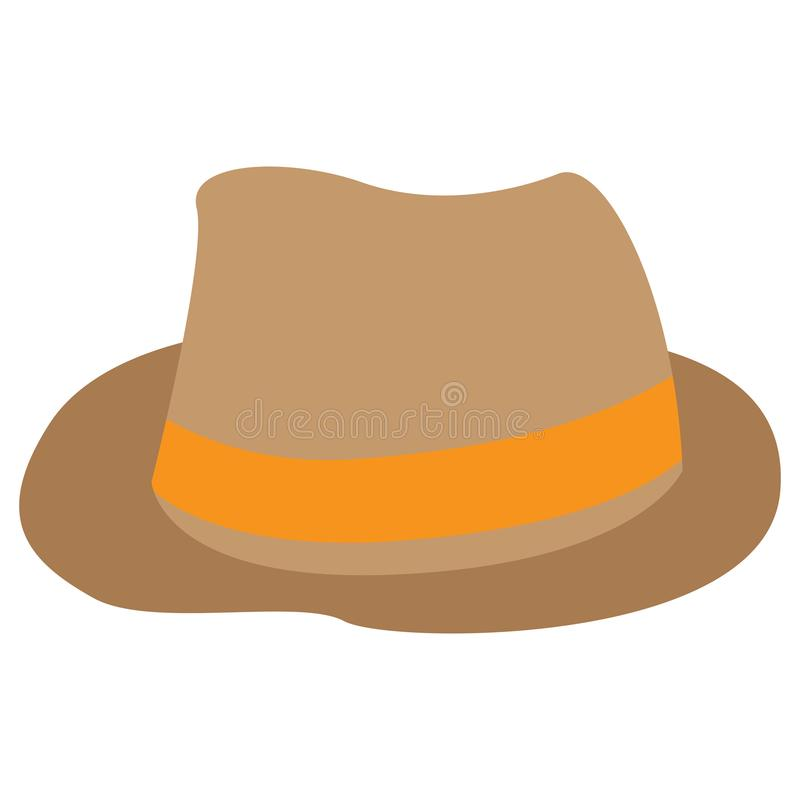 Chapeau traditionnel d'isolement de cru avec le ruban illustration stock