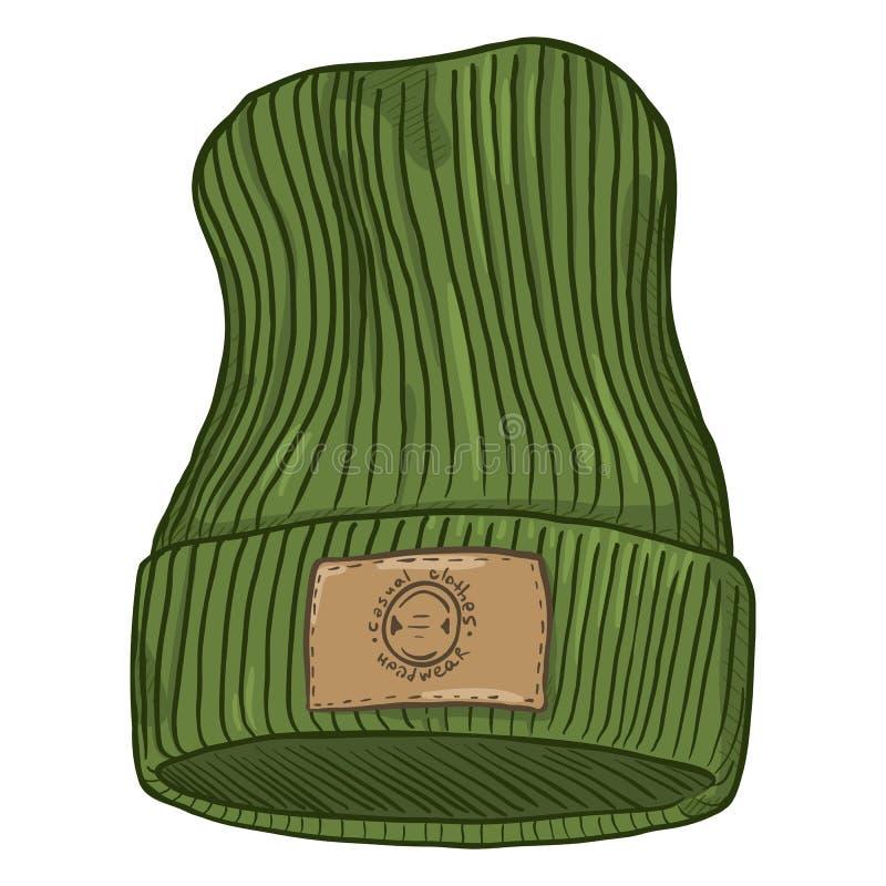 Chapeau tricoté occasionnel de bande dessinée de vecteur avec le label de cuir de Brown illustration de vecteur