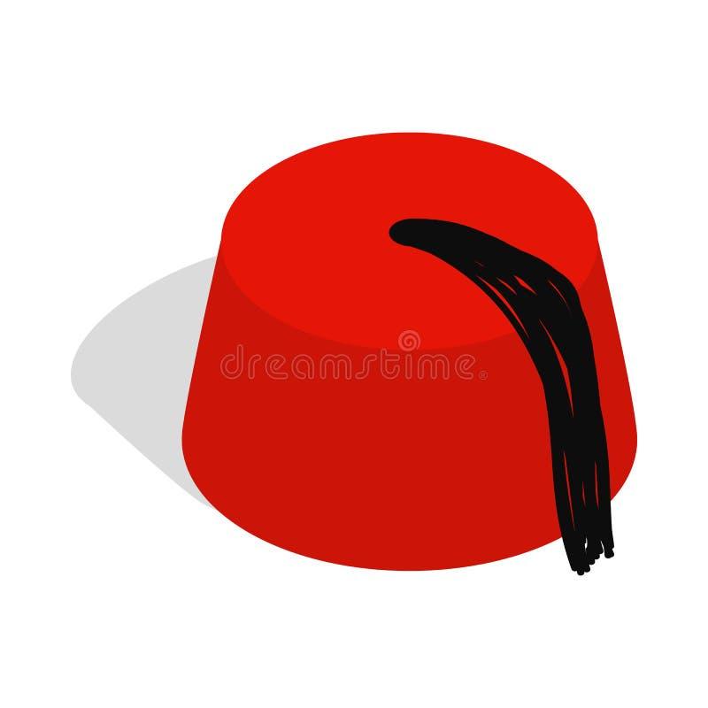 Chapeau turc, icône de Fez, style 3d isométrique illustration libre de droits