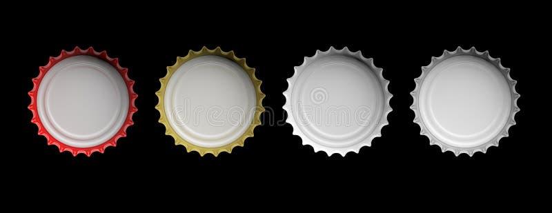 Chapeaux colorés de bière d'isolement sur le fond noir, vue supérieure, bannière illustration 3D illustration stock
