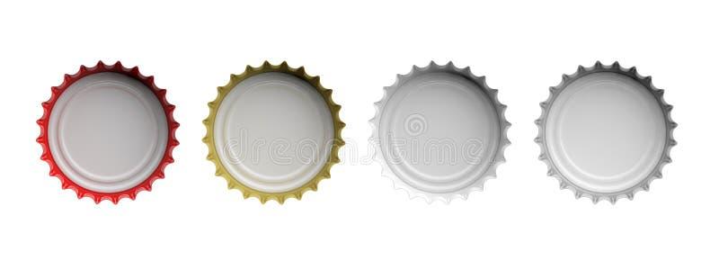 Chapeaux colorés de bière sur le fond blanc, vue supérieure, bannière illustration 3D illustration de vecteur