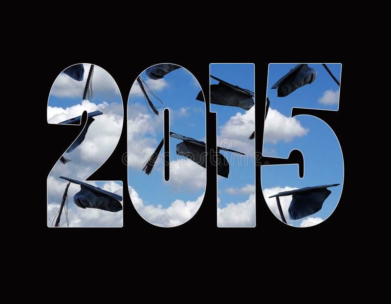 Chapeaux d'obtention du diplôme pour 2015 illustration de vecteur