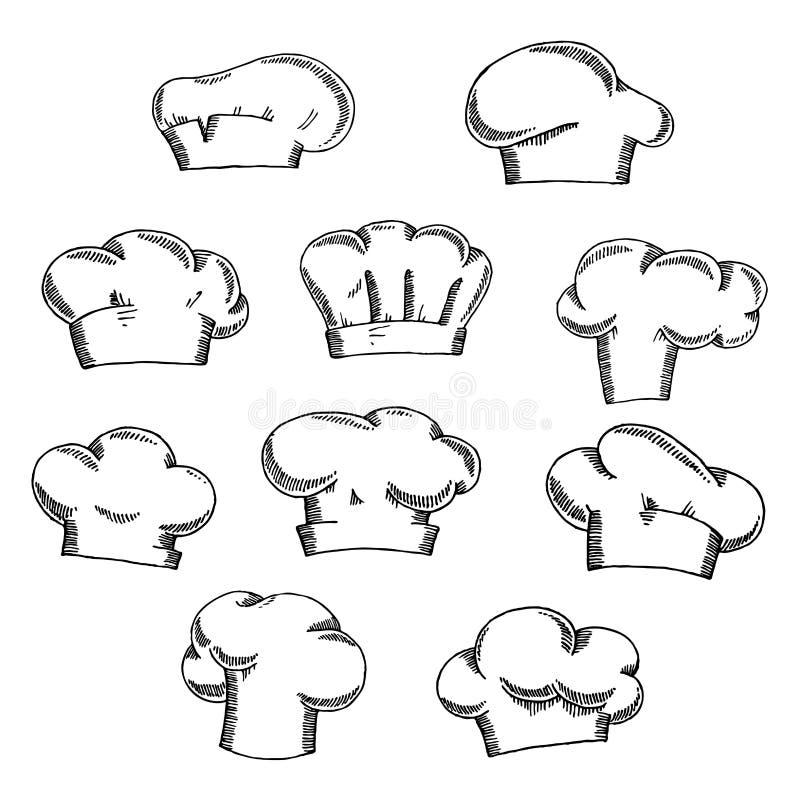Chapeaux de chef et de boulanger ou croquis de toques illustration de vecteur