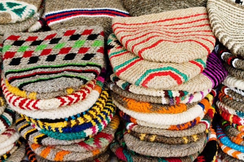 Chapeaux de laines du Maroc photo stock