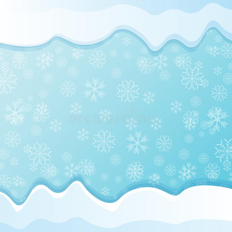 Chapeaux de neige d'hiver de vecteur d'isolement sur le fond de ciel bleu avec des flocons de neige frontière ou cadre de neige d illustration libre de droits