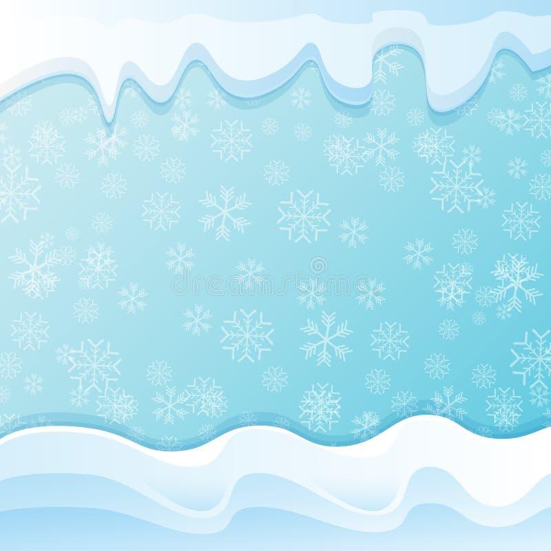 Chapeaux de neige d'hiver de vecteur d'isolement sur le fond de ciel bleu avec des flocons de neige frontière ou cadre de neige d illustration stock