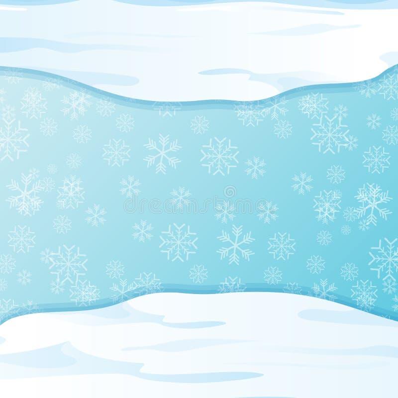 Chapeaux de neige d'hiver de vecteur d'isolement sur le fond de ciel bleu avec des flocons de neige frontière ou cadre de neige d illustration de vecteur