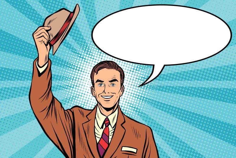Chapeaux de salutation outre de l'homme bienvenu illustration stock