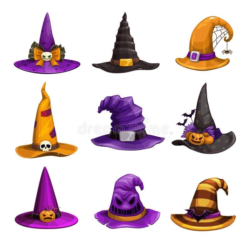 Chapeaux de sorcellerie, icônes colorées. Assistant Collection chapeau. Élément costume d'Halloween illustration libre de droits