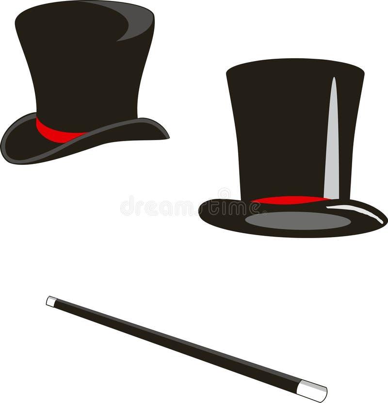 Chapeaux et canne magiques illustration stock