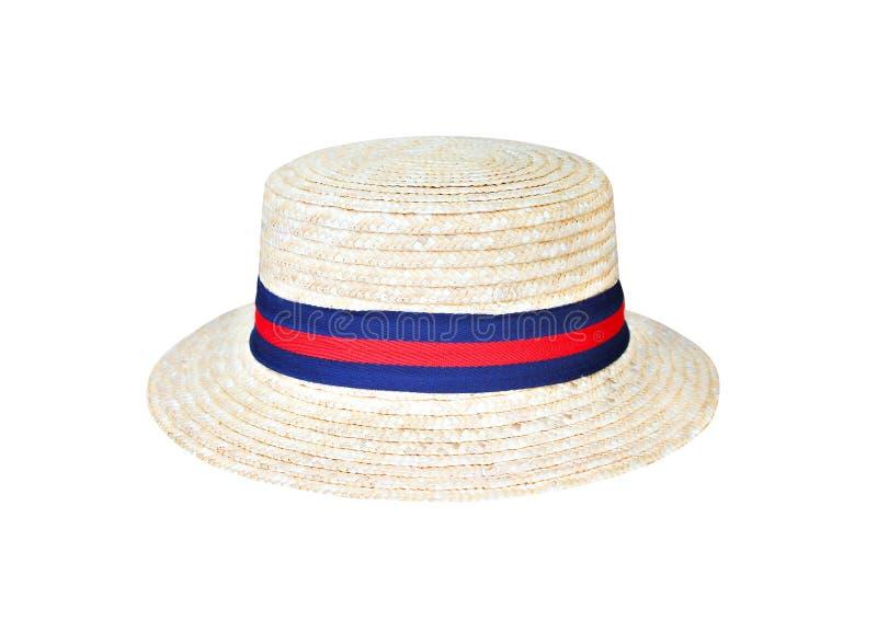 Chapeaux roses avec le bord bleu et rouge de tissu d'isolement sur le fond blanc, chemin de coupure images stock
