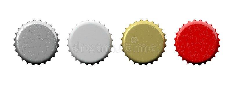 Chapeaux vides colorés de bière d'isolement sur le fond blanc, vue supérieure, bannière illustration 3D illustration libre de droits
