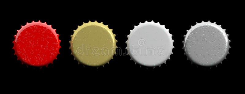 Chapeaux vides colorés de bière d'isolement sur le fond noir, vue supérieure, bannière illustration 3D illustration stock