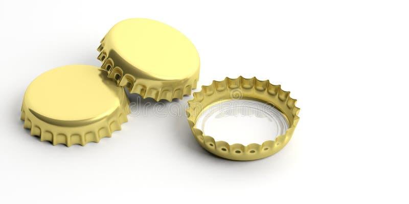 Chapeaux vides et d'or de bière d'isolement sur le fond blanc illustration 3D illustration libre de droits
