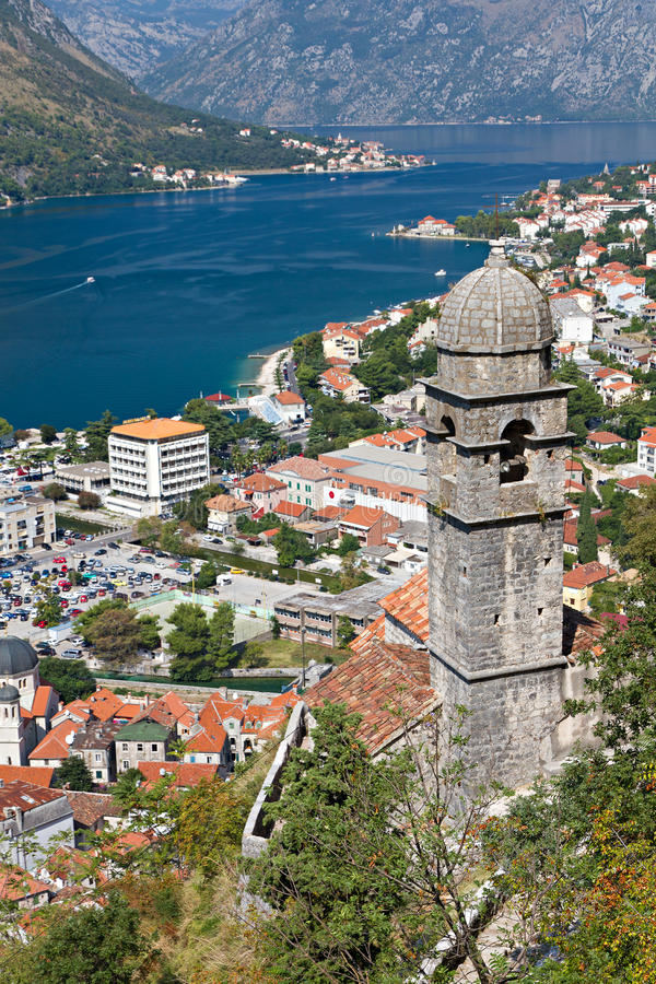 Chapel above town and Kotor bay, stock photography