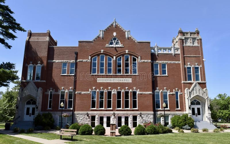 Chapel Auditorium. This is a Spring picture of Chapel Auditorium on the campus of Iowa Wesleyan University located in Mount Pleasant, Iowa in Henry County. The stock image
