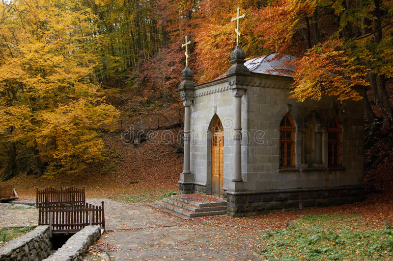 Download Chapel in autumn forest stock photo. Image of serene, house - 7460064