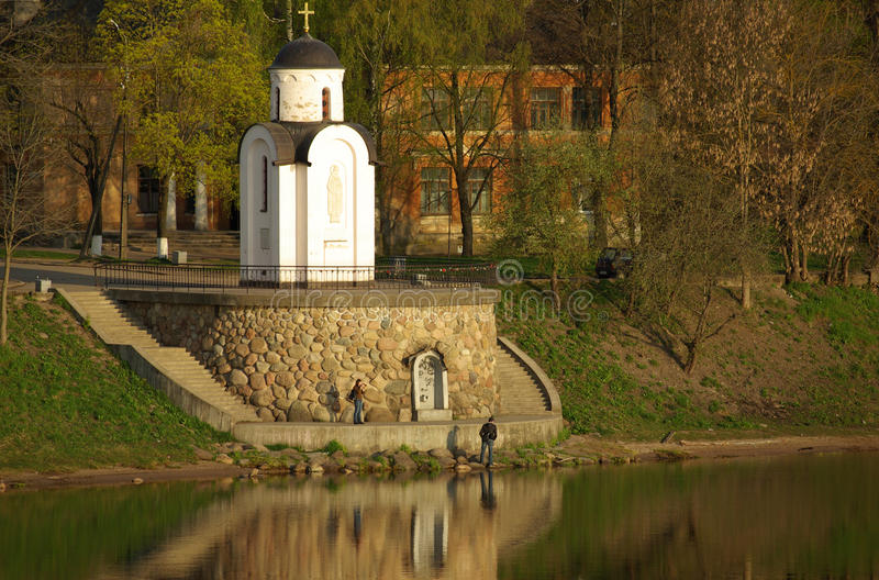 Chapel On The Bank Of The River Velikaya Royalty Free Stock Image