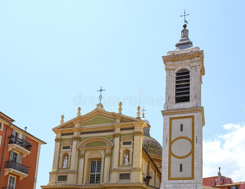 Chapel and belltower of the Nice Cathedral, Nice, France royalty free stock image