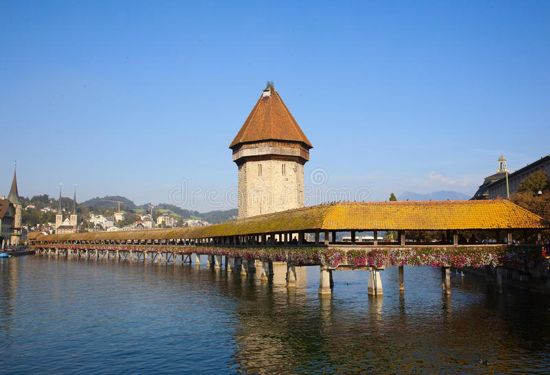 Download Chapel Bridge in Lucerne stock image. Image of hous, attraction - 22247423