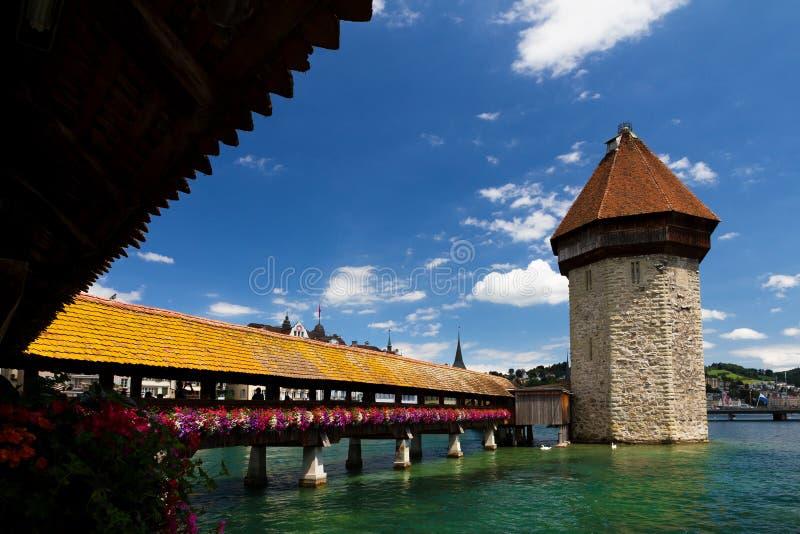 Chapel Bridge In Lucerne Stock Photos