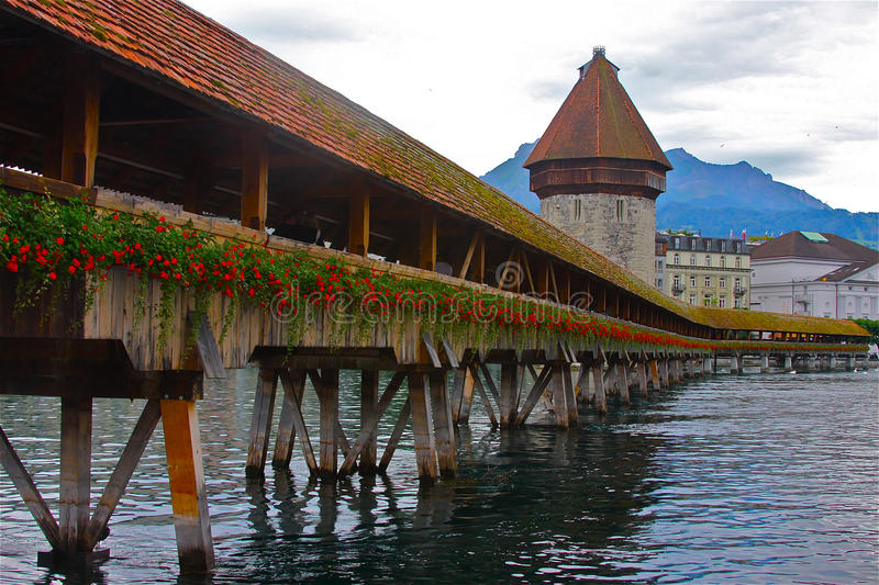 Download Chapel Bridge of Luzern stock image. Image of destination - 12803835