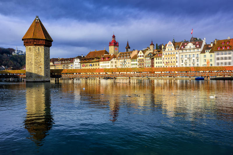 Chapel Bridge and Old Town Lucerne, Switzerland royalty free stock photos