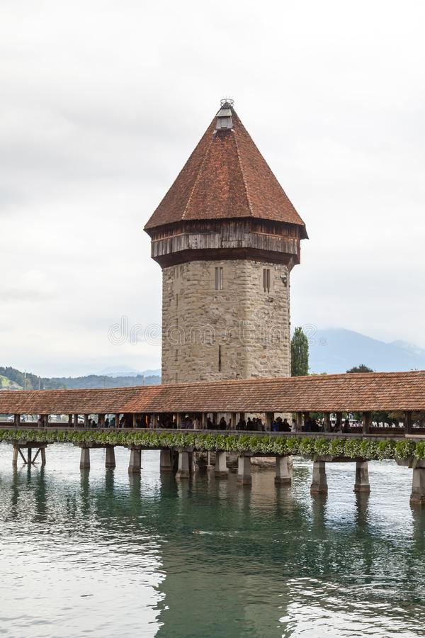 Chapel Bridge and Water Tower in Luzern, Switzerland. royalty free stock images