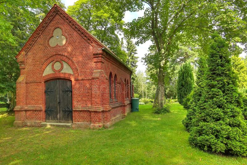 Chapel on cemetery in Gristow, Mecklenburg-Vorpommern, Germany royalty free stock image