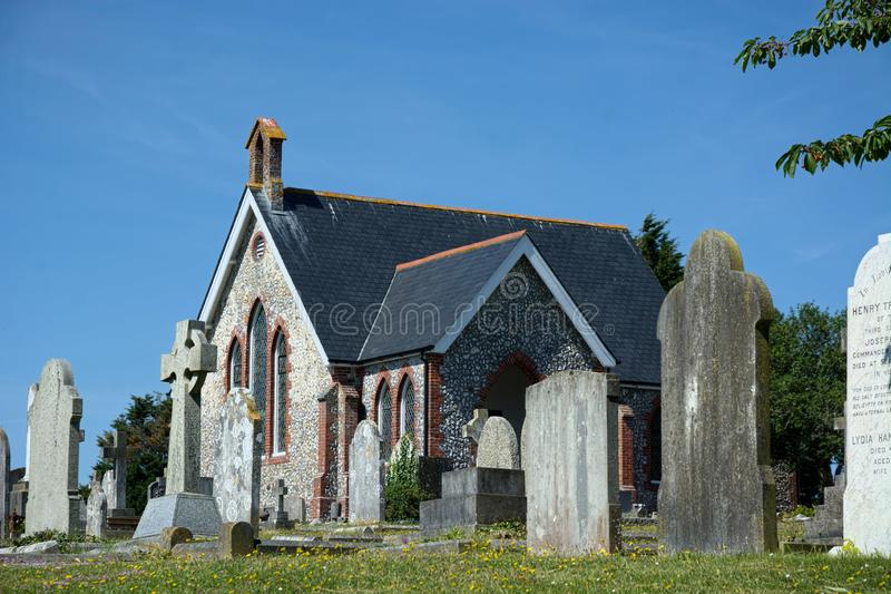 Chapel & Cemetery, Seaford, Sussex. UK royalty free stock photo