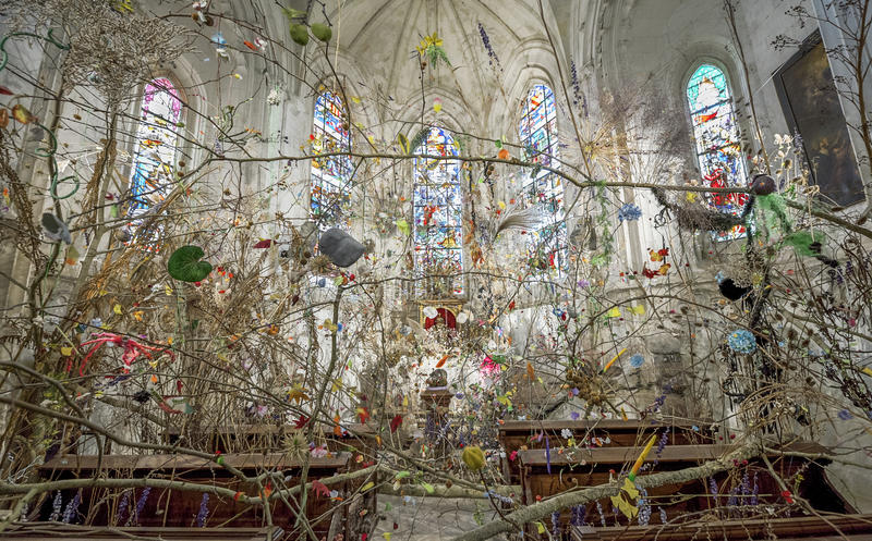 In the chapel of Chaumont castle. Modernly decorated chapel in Chaumont castle. Loire valley, France stock image