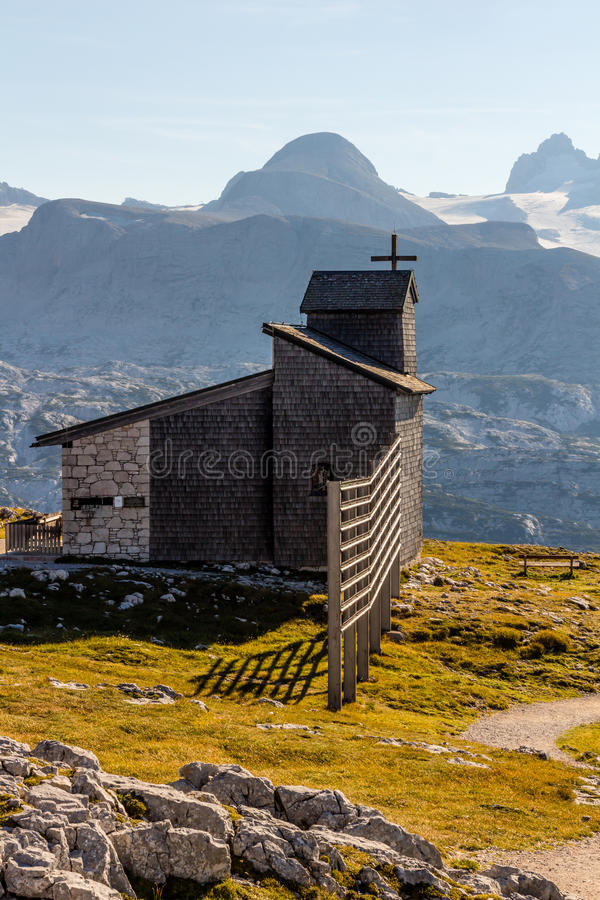 Chapel at the Dachstein on the path to the Five Fingers viewing platform royalty free stock images