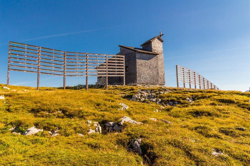 Chapel at the Dachstein on the path to the Five Fingers viewing platform royalty free stock image
