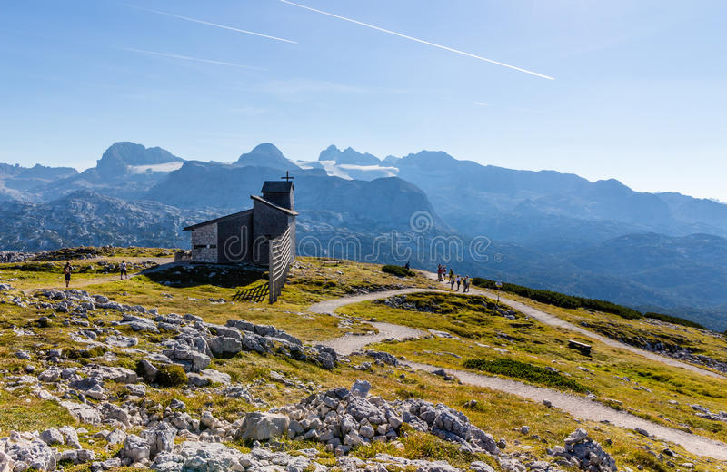 Chapel at the Dachstein on the path to the Five Fingers viewing platform royalty free stock photo