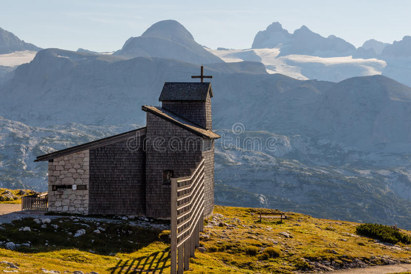 Chapel at the Dachstein on the path to the Five Fingers viewing platform stock image