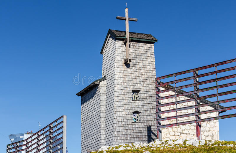 Chapel at the Dachstein on the path to the Five Fingers viewing platform stock photos