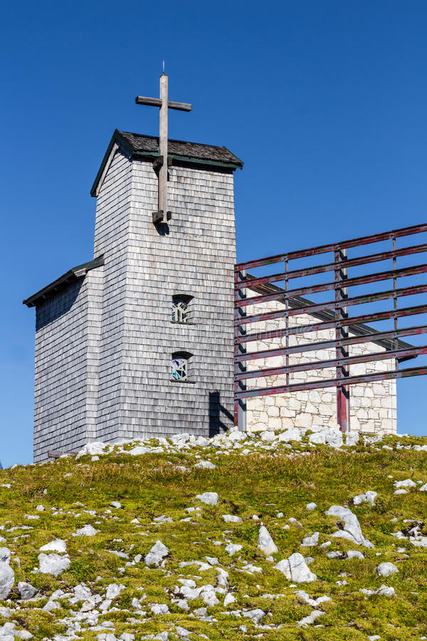 Chapel at the Dachstein on the path to the Five Fingers viewing platform stock images