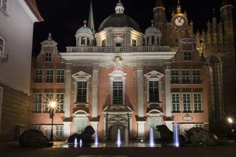 Chapel du Roi dans la vieille ville à Danzig la nuit poland images libres de droits