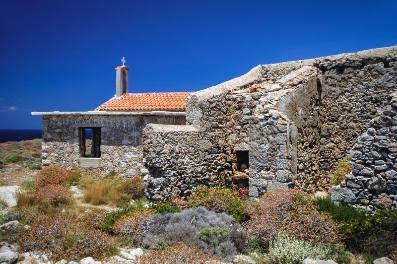 Chapel on Elafonisi island. Chapel of Saint Irene on Elafonisi island located close to the southwestern corner of the Mediterranean island of Crete, Greece royalty free stock photography